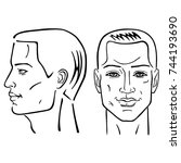 man hairstyle head set  front ... | Shutterstock .eps vector #744193690