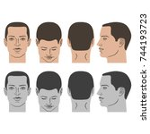 man hairstyle head set  front ... | Shutterstock .eps vector #744193723