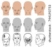 man hairstyle head set  front ... | Shutterstock .eps vector #744193753