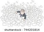 clerk among waves in sea of... | Shutterstock .eps vector #744201814