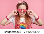 young frustrated stylish female ... | Shutterstock . vector #744204370