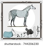 horse and riding tack tools in... | Shutterstock .eps vector #744206230