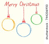 christmas ball funny copy space ... | Shutterstock .eps vector #744206950