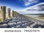 the north sea coast in zealand  ... | Shutterstock . vector #744207874
