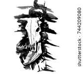 watercolor hand drawn bull or... | Shutterstock . vector #744209080