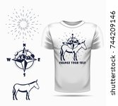 vector donkey silhouette view...   Shutterstock .eps vector #744209146