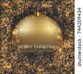 vector modern christmas or 2018 ...   Shutterstock .eps vector #744209434