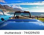 blue car on the seaside   Shutterstock . vector #744209650