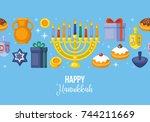 Hanukkah Banner Design. Menora...