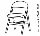 folding collapsible chair stool | Shutterstock .eps vector #744212068