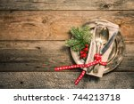 christmas table place setting... | Shutterstock . vector #744213718