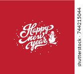 happy new year text lettering... | Shutterstock .eps vector #744215044