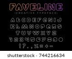 design vector linear font for... | Shutterstock .eps vector #744216634