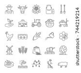 agriculture linear icons set.... | Shutterstock .eps vector #744219214