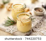 eggnog alcoholic beverage...   Shutterstock . vector #744220753