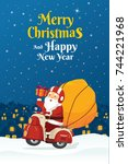 happy smile santa claus riding... | Shutterstock .eps vector #744221968