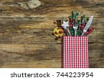christmas dinner table place... | Shutterstock . vector #744223954