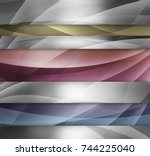 abstract silver blue yellow and ... | Shutterstock . vector #744225040