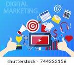 concept of digital marketing.... | Shutterstock .eps vector #744232156