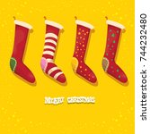 vector cartoon cute christmas... | Shutterstock .eps vector #744232480