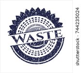 blue waste distressed rubber... | Shutterstock .eps vector #744235024