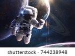 astronaut at the spacewalk .... | Shutterstock . vector #744238948