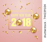 happy new year 2018 elegant... | Shutterstock .eps vector #744239104