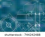 blueprints. mechanical drawings.... | Shutterstock .eps vector #744242488