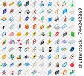 100 school icons set in...