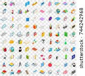 100 school and education icons... | Shutterstock . vector #744242968