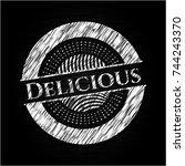 delicious chalkboard emblem | Shutterstock .eps vector #744243370