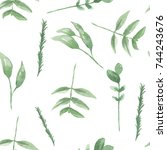 watercolor leaves winter... | Shutterstock . vector #744243676