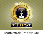 golden emblem or badge with... | Shutterstock .eps vector #744244330