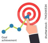 goal achievement. path chart to ... | Shutterstock .eps vector #744244534