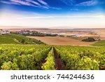 champagne region in france. a...   Shutterstock . vector #744244636