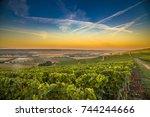 champagne region in france. a... | Shutterstock . vector #744244666