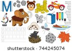 letter m. dot to dot...   Shutterstock .eps vector #744245074