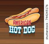 vector cartoon american hotdog...   Shutterstock .eps vector #744245176