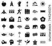 yoga meditation icons set.... | Shutterstock . vector #744245374