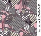 memphis seamless  pattern in... | Shutterstock .eps vector #744245638
