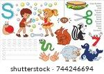 letter s. dot to dot... | Shutterstock .eps vector #744246694