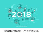 infographic concept  2018  ... | Shutterstock .eps vector #744246916