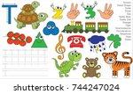 letter t. dot to dot... | Shutterstock .eps vector #744247024