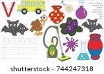 letter v. dot to dot...   Shutterstock .eps vector #744247318