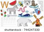 letter w. dot to dot... | Shutterstock .eps vector #744247330