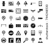 car in city icons set. simple... | Shutterstock . vector #744248530