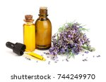 bottle with aroma oil and... | Shutterstock . vector #744249970