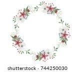 watercolor festive christmas... | Shutterstock . vector #744250030