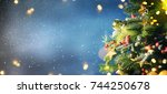 christmas snow background. | Shutterstock . vector #744250678