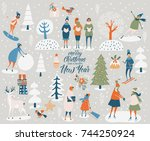 merry christmas and happy new... | Shutterstock .eps vector #744250924
